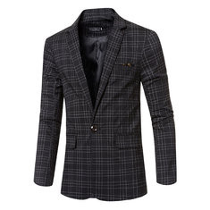 Casual Plaids British Style Slim Blazers For Men-US$39.33