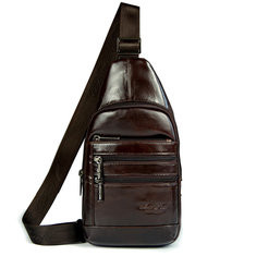 Men Genuine Leather Chest Bag Oil Wax Leather Sling Bag  RM204.89