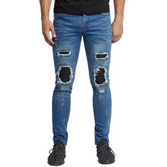 Skinny Hip Hop Ripped Patch Biker Jeans-US$27.23