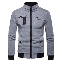Mens Multifunction Pockets Zipper Stitching Coat-US$27.89