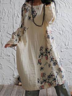Floral Print Patchwork Vintage Dress -US$59.99