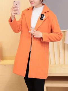 Women's Coat Appliques Letter Covered Butto-RM158.34