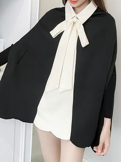 Women's Poncho Patchwork Turn Down Collar-RM114.93