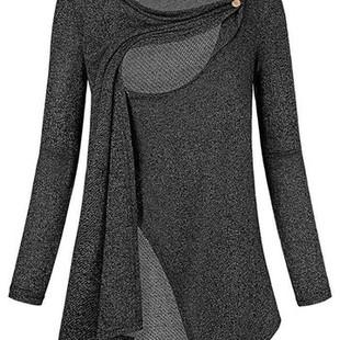 Maternity Long Sleeve O-Neck Nursing Tops -US$22