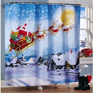 180*180cm Christmas Sleigh Shower Curtain -US$17.89