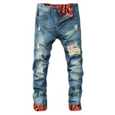 Stylish Retro Shredded Holes Patchwork Pants-US$18.89