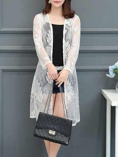 Lace Leaves Pattern Open Front Long Sleeve -RM74.74