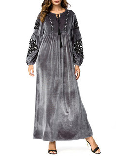 Embroidery Patchwork Maxi Dress -US$56.00