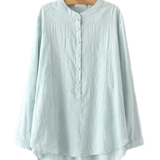 Floral Embroidery Stand Collar Button Shirts For Women-US$28.90