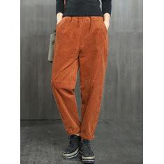 Elastic Waist Corduroy Pants-RM158.70