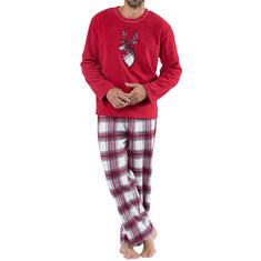 Christmas Breathable Fleece British Plaid Pajamas-US$19.59