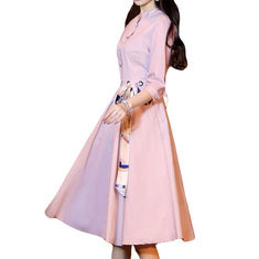 Belt Bow Stand Collar Casual Dress-RM120.27