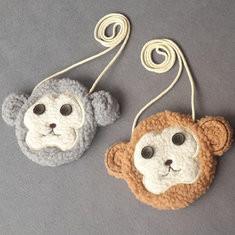 Kindergarten Children Lovely Monkey Plush Handbag Cartoon Casual Shoulder Bag-US$8.41