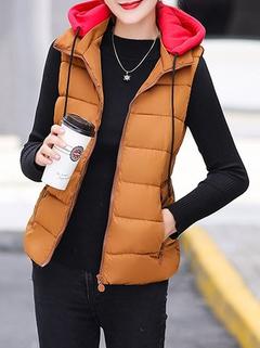 Women's Vest Fashion Color Block Hooded Ja-RM145.41