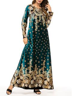 Muslim Fleece Print Maxi Dress -US$52.00