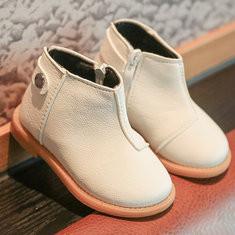 Unisex Zipper Round Toe Short Boots