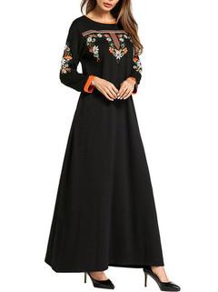 Embroidery Long Sleeve Muslim Long Dress -US$42.80