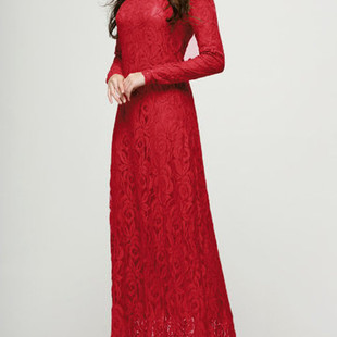 Lace Double-layer Long Sleeve O-neck Maxi D-US$38.99