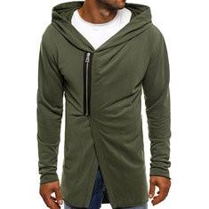 Mid Long Hooded Zipper Casual Coat-US$25.58