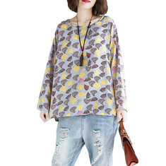 Shell Printed Long Sleeve Linen Casual Blouse-RM115.11