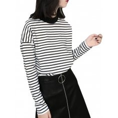 Striped O-neck Long Sleeve Bottoming Blouse-RM67.46