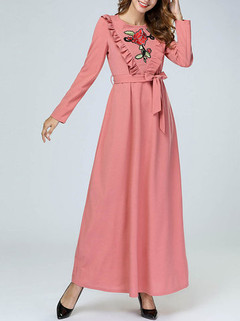 Muslim Embroidery Maxi Dress -US$52.00