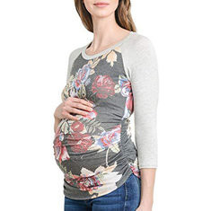 Flower Maternity Long Sleeve Tops-US$21.99