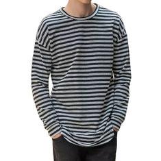 Stripes Printing Long Sleeve Loose T Shirt -US$16.49