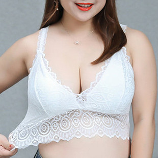 Sexy Embroidered Lace Breathable Padding Wrapped Chest Deep V Bra Vest - RM32.14