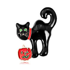 Funny Unisex Cat with Pumpkin Pin-US$9.59