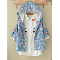 Denim Floral Hooded Vintage Coat-RM206.17