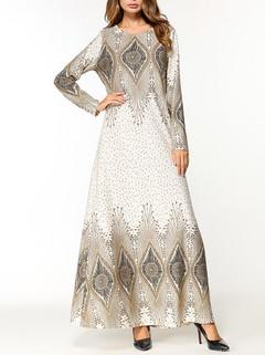 Print Long Sleeve Islam Muslim Long Dress -US$39.99