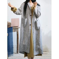 Solid Color Cotton Linen Coat-RM429.57