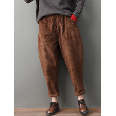 Corduroy Solid Color Harem Pants-RM167.50