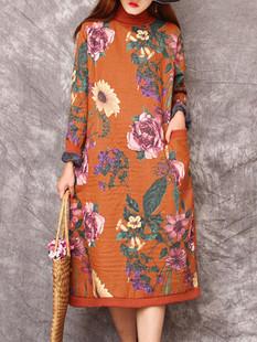 Turtleneck Patchwork Floral Print Dress -US$66.99