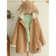 Cat Embroidered Hooded Coat-RM240.94