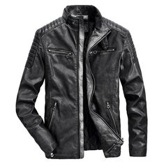 Men Leather Stand Collar PU Jacket -US$69.99
