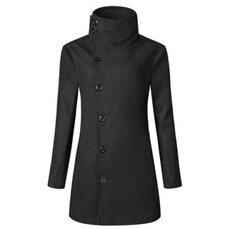 RM118.97-Mens Solid Slim Fit Double-breasted Trench Coa