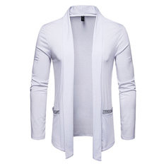 Mens Mid Length Stitching Color  Cardigan-US$23.79