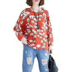 Linen Printed Long Sleeve O-neck Loose Shirt-RM115.97