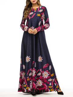 Muslim Flower Long Sleeve Long Dress -US$37.99