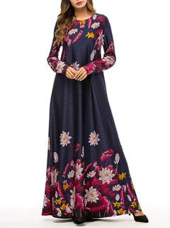 Muslim Flower Long Sleeve Long Dress -US$37.99
