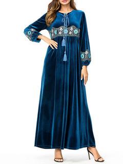 Velvet Long Sleeve Muslim Long Dress -US$46.80