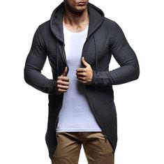 Mid Long Style Zipper Casual Hoodies-US$24.63
