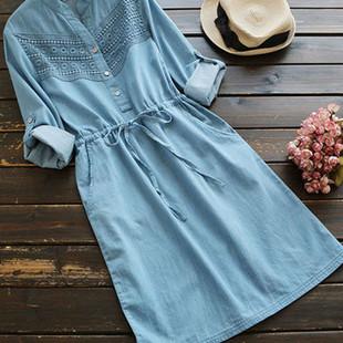 Denim Lace Patchwork Women Dresses -US$36.80