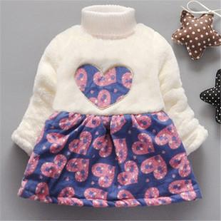 Thicken Fleece Patchwork Dress For 2Y-9Y -US$24.99