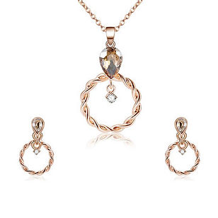 Luxury Wedding Bridal Jewelry Set Classic Rose Gold Rhinestone Zirconia Hoop Earrings Necklaces - RM54.68