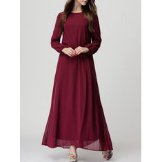 Solid Color Long Sleeve O-neck Chiffon Dress-RM120.27