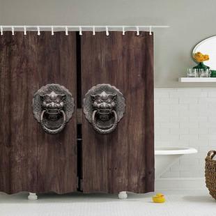 Retro Door Waterproof Shower Curtain -US$19.80