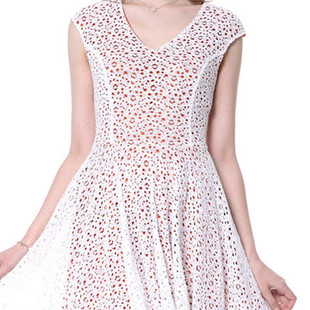 Lace Hollow High Waist Dreses -US$41.68